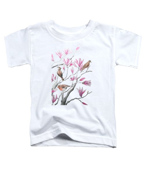Pink Magnolia Flower And Birds  Toddler T-Shirt
