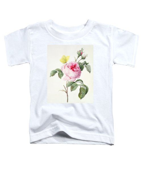 Pink Rose With Buds And A Brimstone Butterfly Toddler T-Shirt