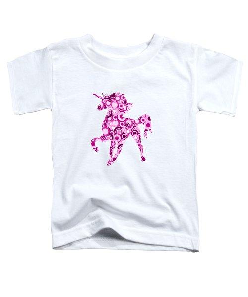 Pink Unicorn - Animal Art Toddler T-Shirt by Anastasiya Malakhova