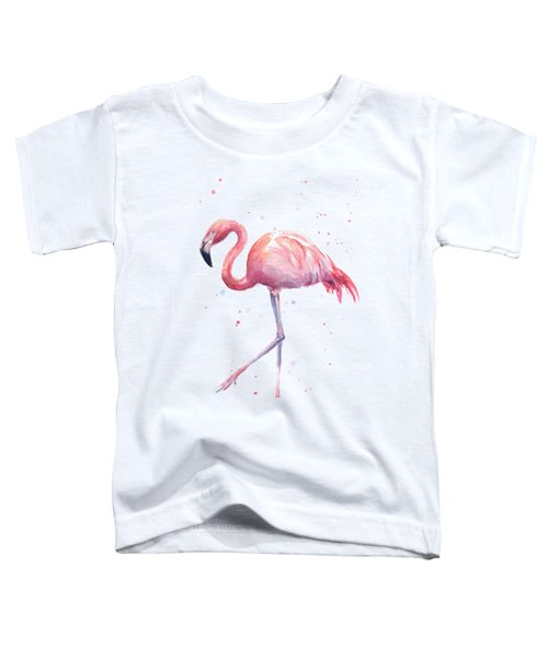 Pink Watercolor Flamingo Toddler T-Shirt by Olga Shvartsur