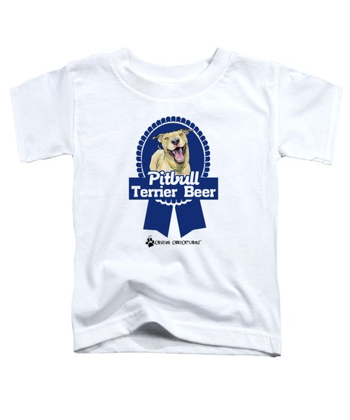 Pit Bull Terrier Beer Toddler T-Shirt by John LaFree