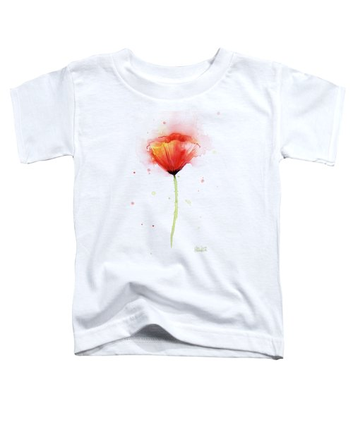 Poppy Watercolor Red Abstract Flower Toddler T-Shirt