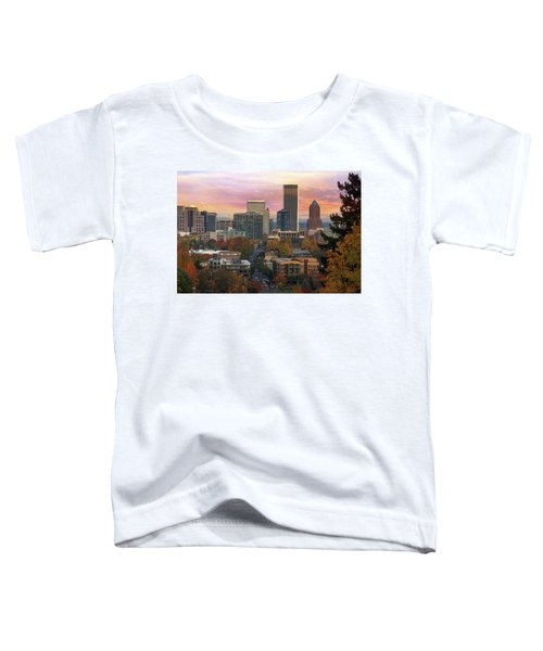 Portland Downtown Cityscape During Sunrise In Fall Toddler T-Shirt