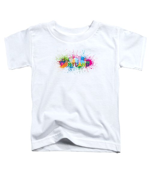 Portland Oregon Skyline Paint Splatter Text Illustration Toddler T-Shirt
