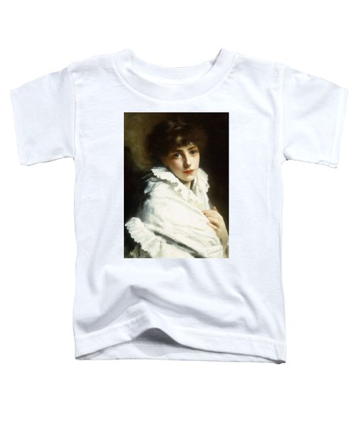 Portrait Of A Young Girl In White Toddler T-Shirt