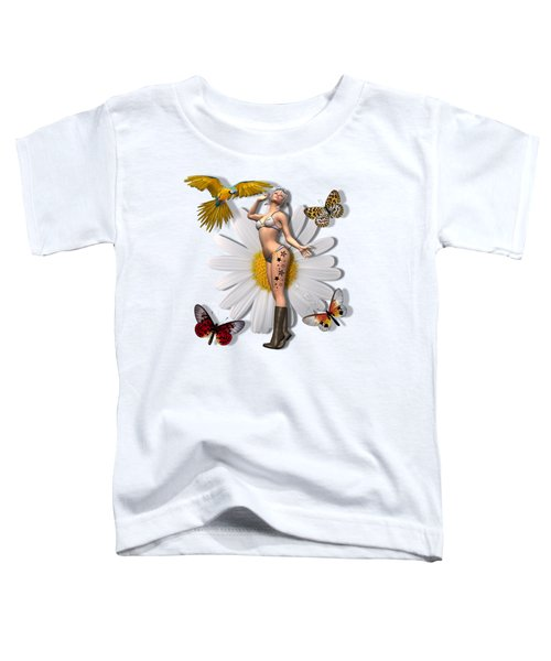 Pretty 3d Woman With Macaw And Butterflies Toddler T-Shirt