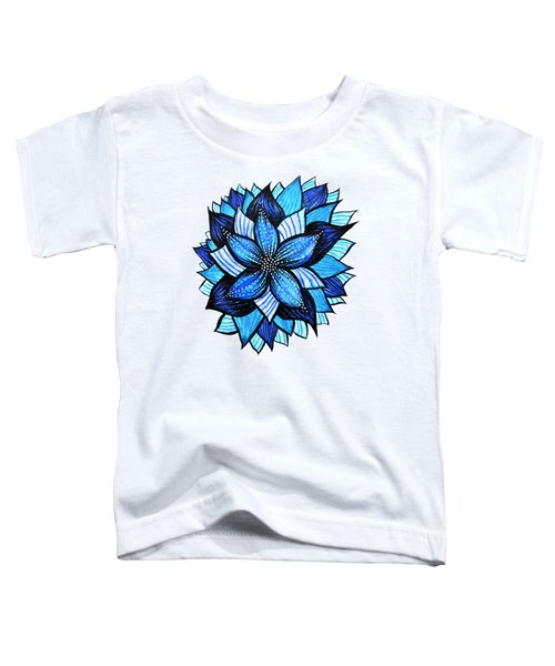 Pretty Abstract Blue Mandala Like Flower Drawing Toddler T-Shirt