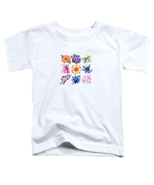 Pretty Flowers All In A Row Toddler T-Shirt