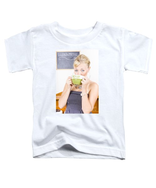 Pretty Retro Woman Drinking Hot Cup Of Soup Toddler T-Shirt