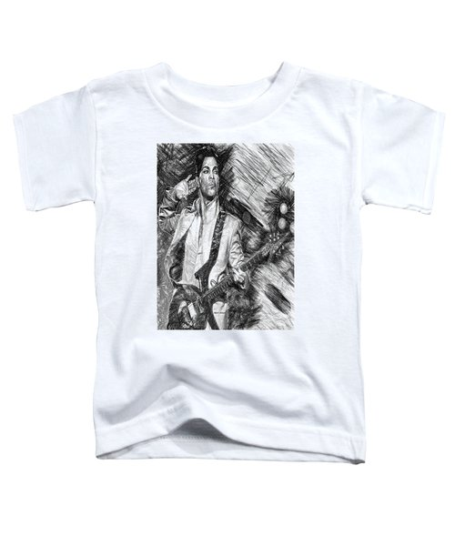 Prince - Tribute With Guitar In Black And White Toddler T-Shirt