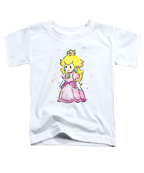 Princess Peach Watercolor Toddler T-Shirt by Olga Shvartsur