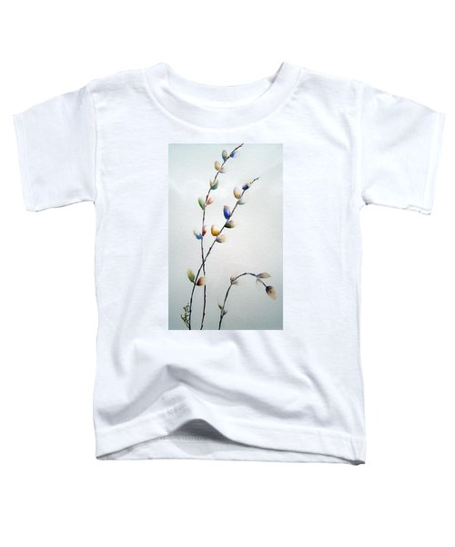 Toddler T-Shirt featuring the painting Pussy Willows by Joanne Smoley
