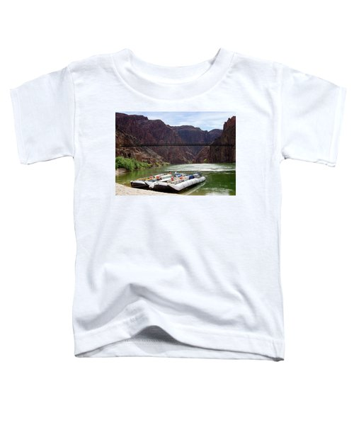 Rafts With Black Bridge In The Distance Toddler T-Shirt