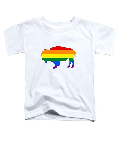 Rainbow Bison Toddler T-Shirt by Mordax Furittus