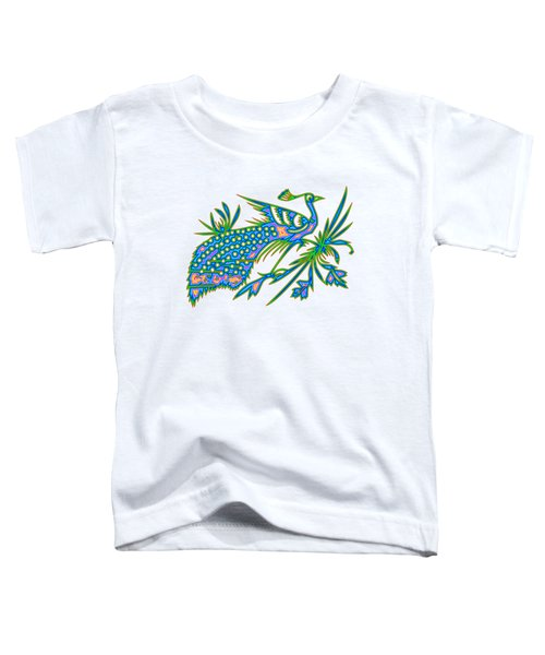 Rainbow Multicolored Peacock On A Branch Toddler T-Shirt