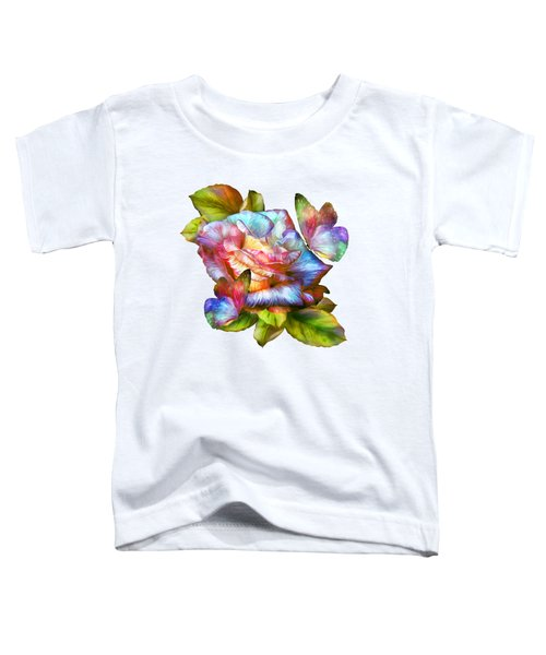 Rainbow Rose And Butterflies Toddler T-Shirt by Carol Cavalaris