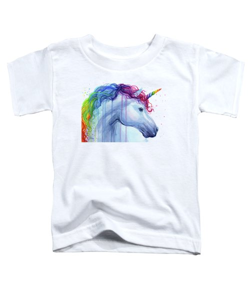 Rainbow Unicorn Watercolor Toddler T-Shirt