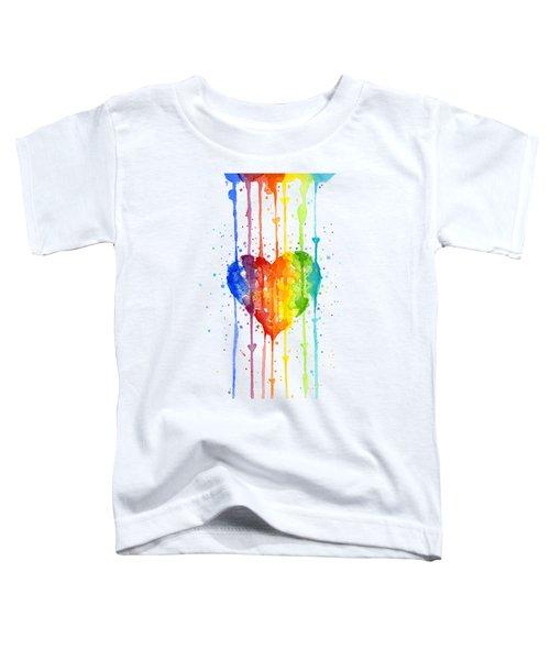 Rainbow Watercolor Heart Toddler T-Shirt