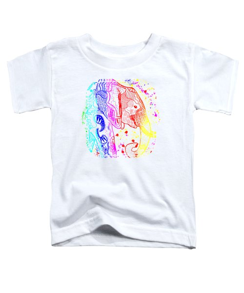Rainbow Zentangle Elephant Toddler T-Shirt by Becky Herrera