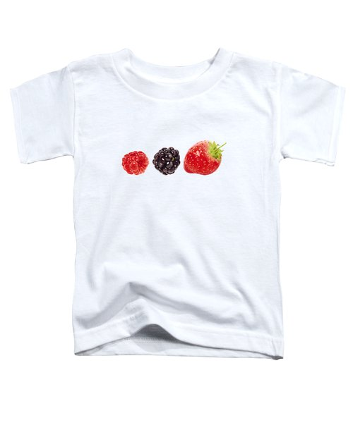 Raspberry, Blackberry And Strawberry In Watercolor Toddler T-Shirt by Kathleen Skinner