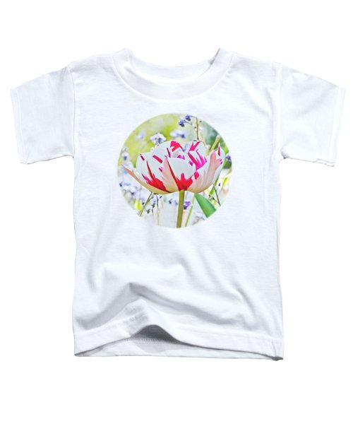 Red And White Tulip Toddler T-Shirt by Terri Waters