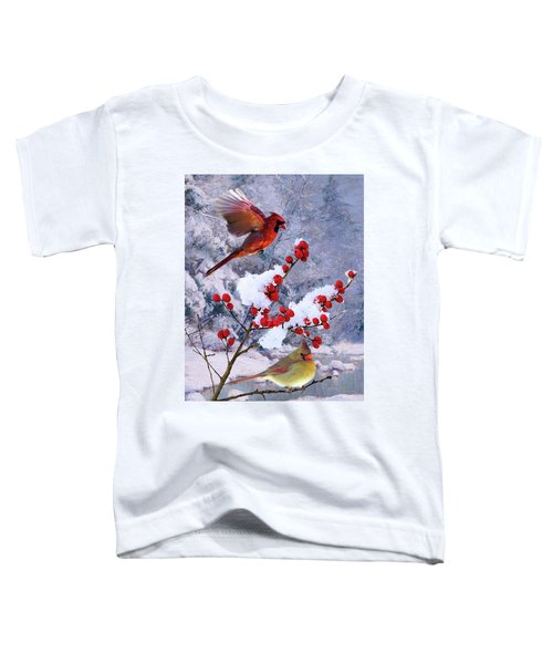 Red Birds Of Christmas Toddler T-Shirt