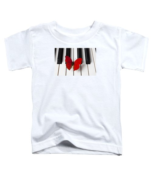 Red Butterfly On Piano Keys Toddler T-Shirt
