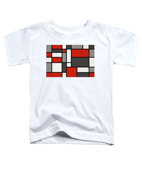 Red Grey Black Mondrian Inspired Toddler T-Shirt