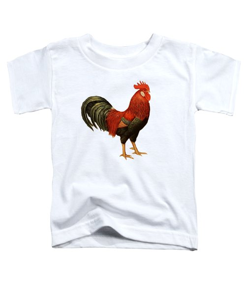 Red Leghorn Rooster Toddler T-Shirt by Unknown