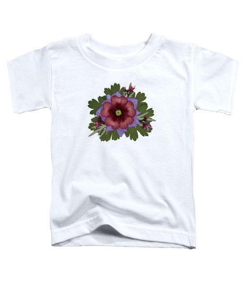 Red Open Faced Potentilla Pressed Flower Arrangement Toddler T-Shirt