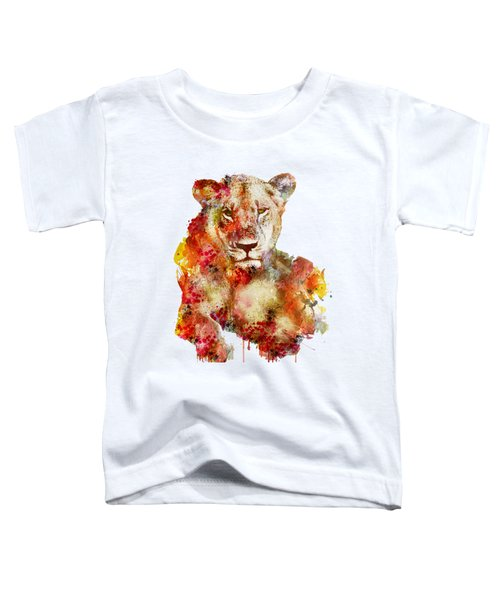 Resting Lioness In Watercolor Toddler T-Shirt by Marian Voicu