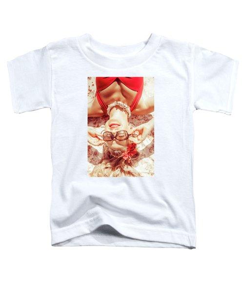 Retro 50s Beach Pinup Girl Toddler T-Shirt