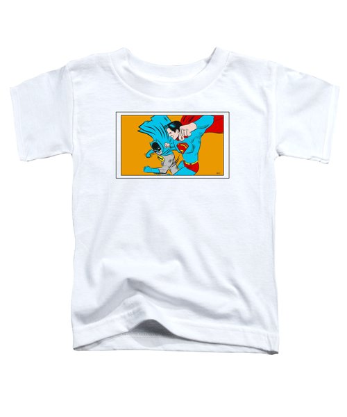 Toddler T-Shirt featuring the digital art Retro Batman V Superman by Antonio Romero