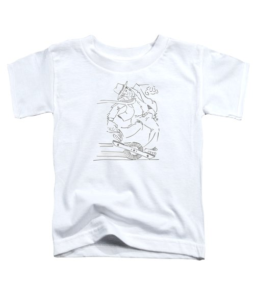 Ride One Wheel Cartoon - Never Be Late Again Toddler T-Shirt