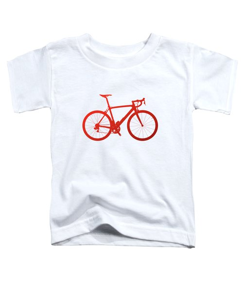 Road Bike Silhouette - Red On White Canvas Toddler T-Shirt by Serge Averbukh