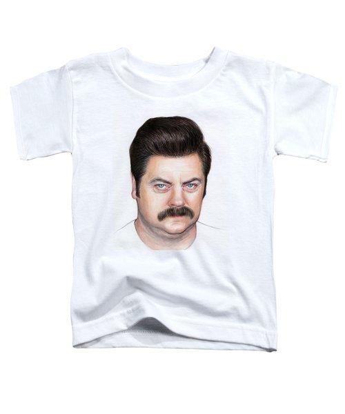 Ron Swanson Portrait Nick Offerman Toddler T-Shirt by Olga Shvartsur