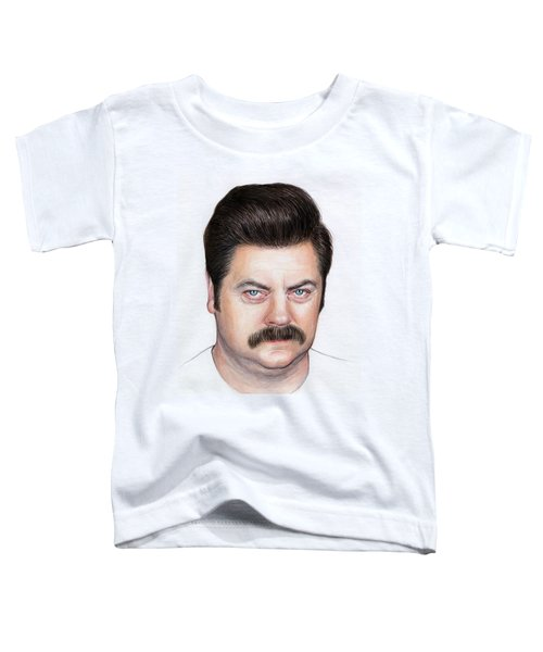 Ron Swanson Portrait Nick Offerman Toddler T-Shirt