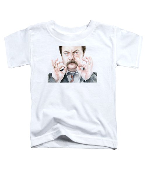 Ron Swanson Mustache Portrait Toddler T-Shirt