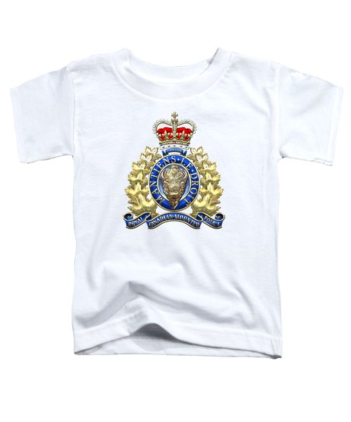 Royal Canadian Mounted Police - Rcmp Badge On White Leather Toddler T-Shirt by Serge Averbukh