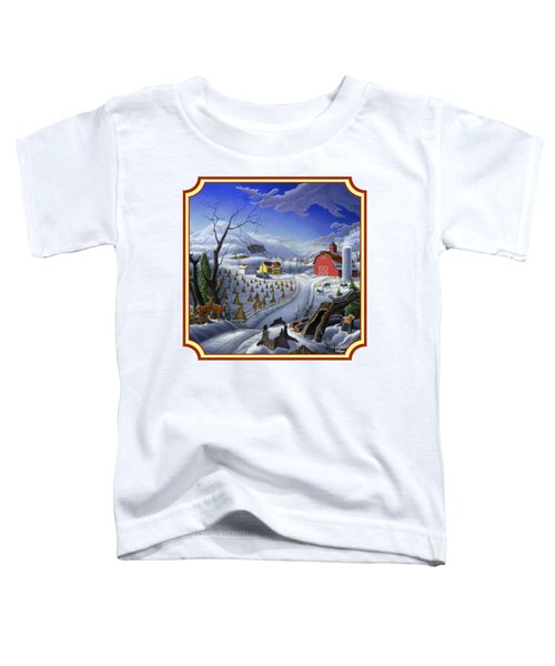 Rural Winter Country Farm Life Landscape - Square Format Toddler T-Shirt by Walt Curlee