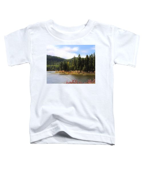 Toddler T-Shirt featuring the painting Salmon Lake Montana by Susan Kinney