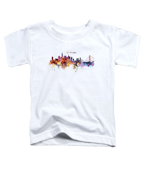 San Francisco Watercolor Skyline Toddler T-Shirt by Marian Voicu