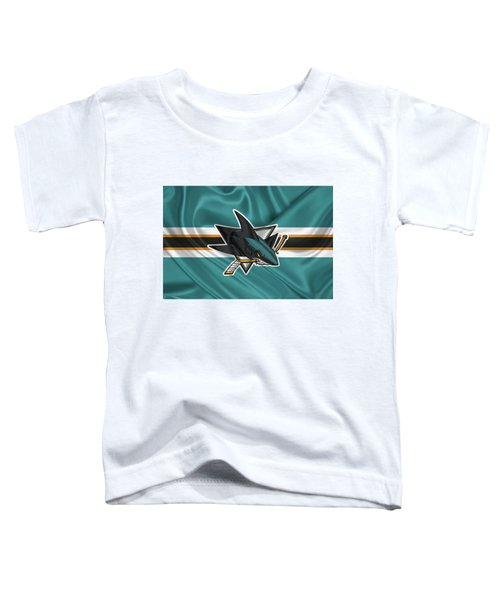 San Jose Sharks - 3 D Badge Over Silk Flagsan Jose Sharks - 3 D Badge Over Silk Flag Toddler T-Shirt