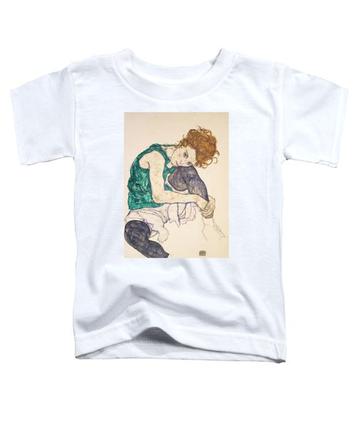 Seated Woman With Legs Drawn Up Toddler T-Shirt
