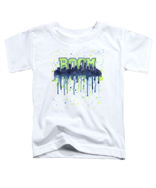 Seattle 12th Man Legion Of Boom Watercolor Toddler T-Shirt