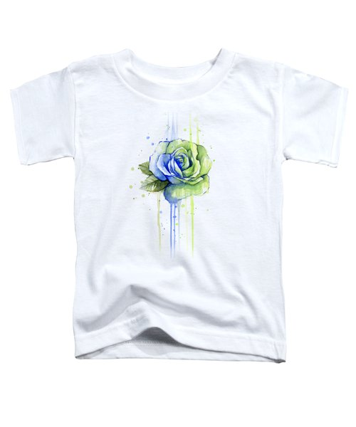 Seattle 12th Man Seahawks Watercolor Rose Toddler T-Shirt