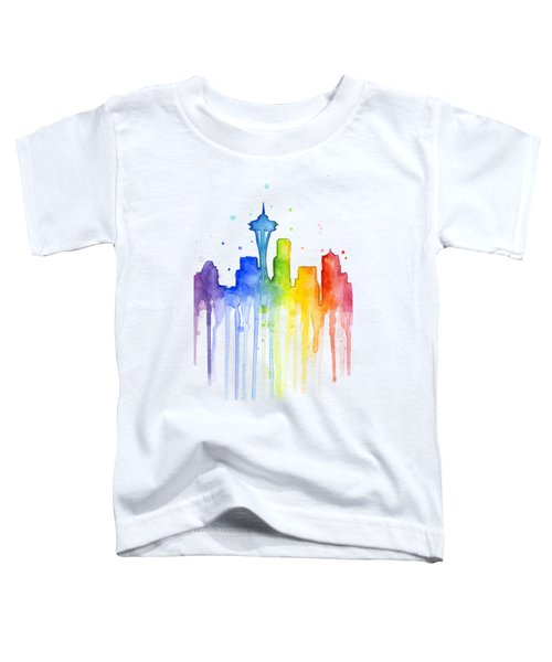Seattle Rainbow Watercolor Toddler T-Shirt by Olga Shvartsur