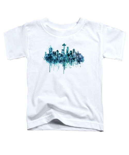 Seattle Skyline Monochrome Watercolor Toddler T-Shirt by Marian Voicu