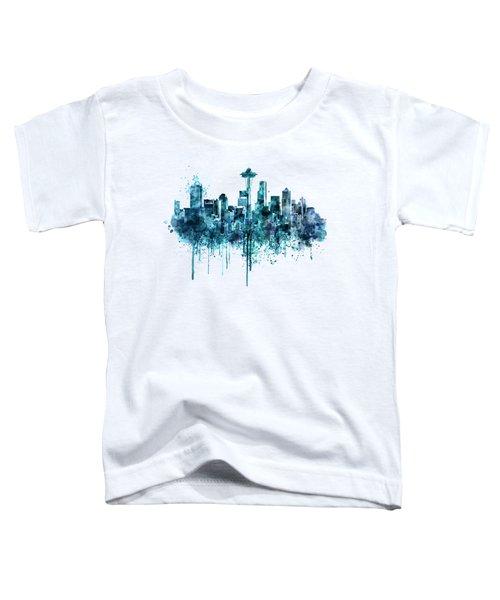 Seattle Skyline Monochrome Watercolor Toddler T-Shirt