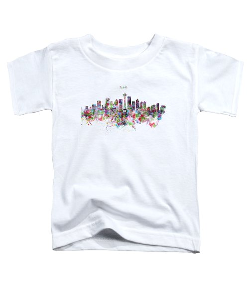 Seattle Skyline Silhouette Toddler T-Shirt by Marian Voicu